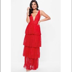 *NEW* Missguided Red Lace Tiered Maxi Dress Sz 6